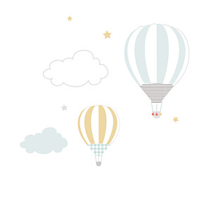 Up and away blue without photos baby thank you cards