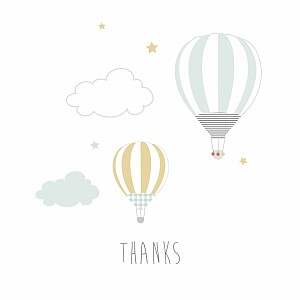Up and away photo blue baby thank you cards