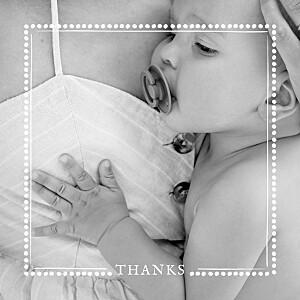 Polka dot border white baby thank you cards