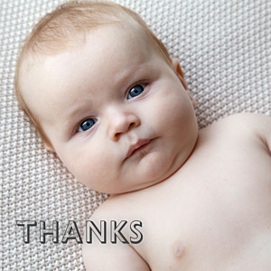 One and only white baby thank you cards