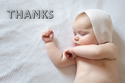 Baby Thank You Cards One and only landscape white finition