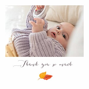 Autumn baby white beige baby thank you cards