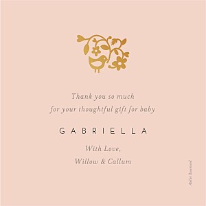 Pretty pastel (foil) pink petite alma  baby thank you cards