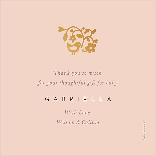 Baby Thank You Cards Pretty pastel (foil) pink