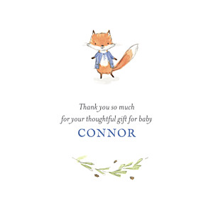 Watercolour fox photo blue baby thank you cards