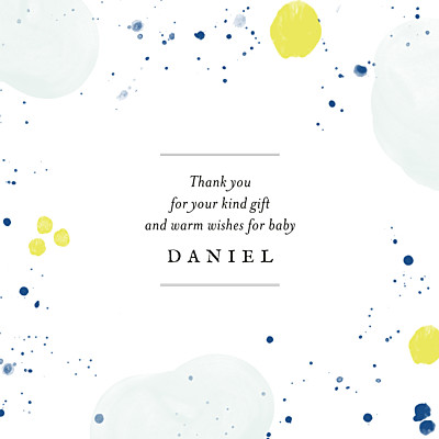 Baby Thank You Cards Petites bulles d'aquarelle bleu-jaune finition