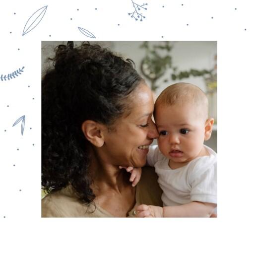 Baby Thank You Cards Elegant foliage photo blue