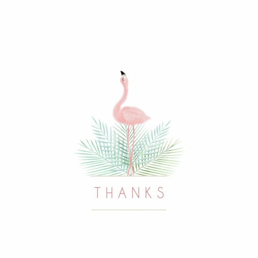 Baby Thank You Cards Pink flamingo photo white
