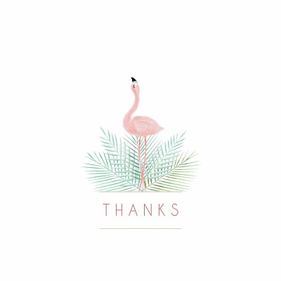 Baby Thank You Cards Pink flamingo photo white finition