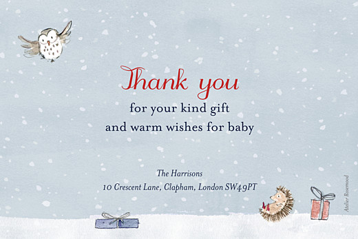 Baby Thank You Cards Winter storybook photo blue - Page 2