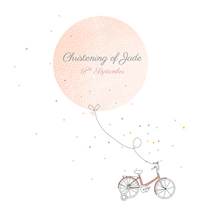 Christening Invitations Little bicycle pink finition