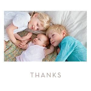 Simple photo white baby thank you cards