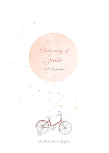 Little bicycle pink christening order of service booklets
