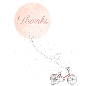 Little bicycle pink red baby thank you cards