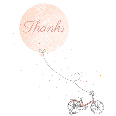 Baby Thank You Cards Little bicycle pink finition