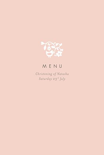 Christening Menus Pretty pastel pink