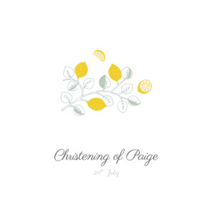 Christening Invitations Citrons yellow