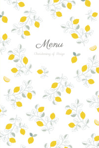 Christening Menus Citrons yellow