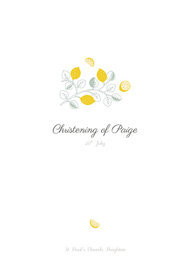 Christening Order of Service Booklets Citrons yellow