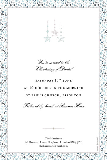 Christening Invitations Liberty origami stars blue - Page 2
