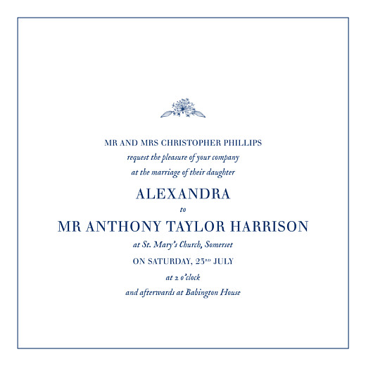 Wedding Invitations Natural chic 4 pages (foil) blue