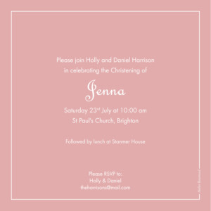 Christening Invitations Classic border old pink
