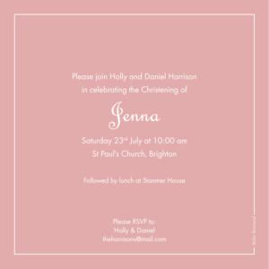 Christening Invitations Classic border old pink
