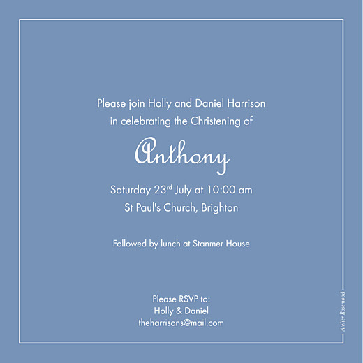 Christening Invitations Classic border wedgwood blue