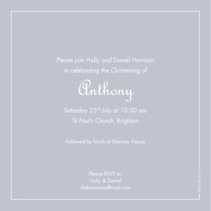 Christening Invitations Classic border grey