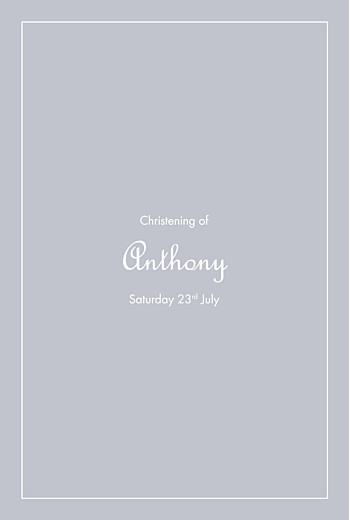 Christening Menus Classic border grey