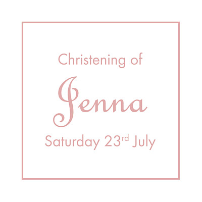 Christening Gift Tags Classic border old pink finition
