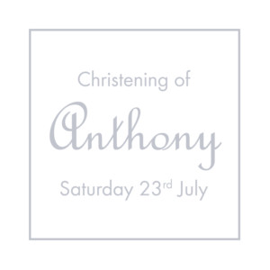 Christening Gift Tags Classic border grey