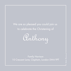 Classic border grey beige baby thank you cards