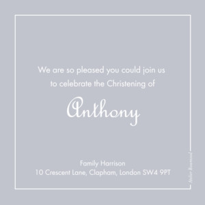Baby Thank You Cards Classic border grey