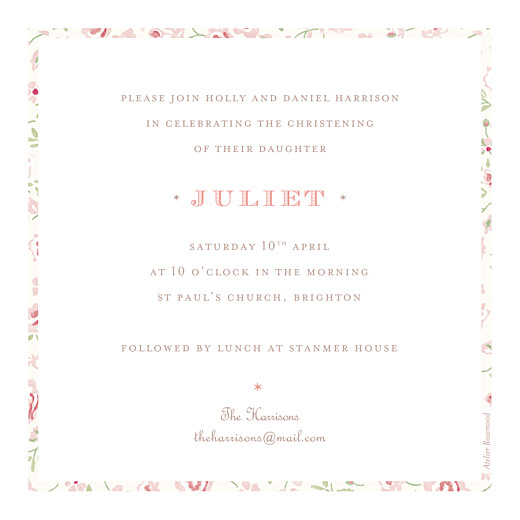 Christening Invitations Felicity pink - Page 2