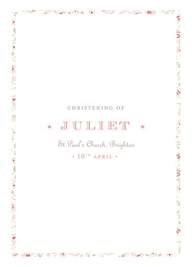 Christening Order of Service Booklets Felicity pink