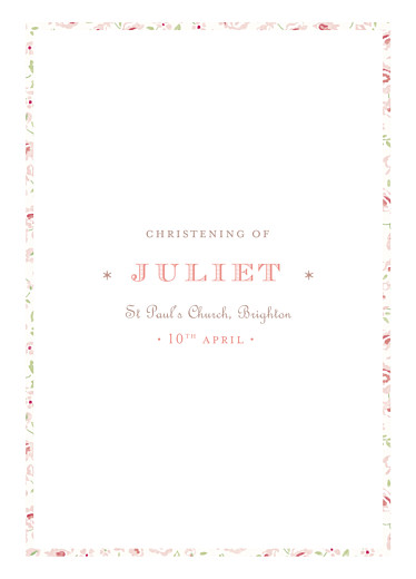 Christening Order of Service Booklets Felicity pink