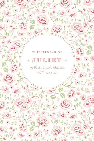 Christening Menus Felicity pink finition