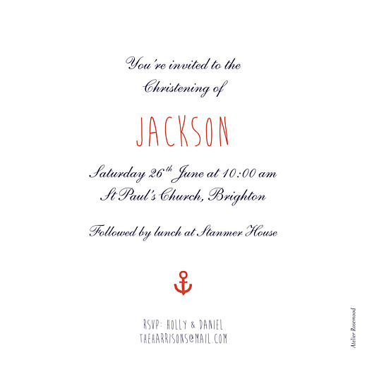 Christening Invitations Little sailor blue - Page 2
