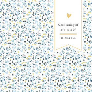 Liberty heart blue christening invitations