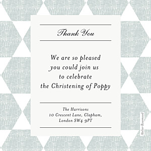Lovely linen green grey baby thank you cards