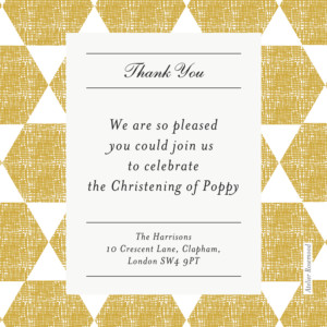Baby Thank You Cards Lovely linen yellow