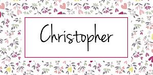 Christening Place Cards Liberty heart plum