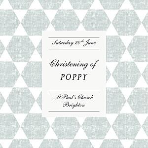 Lovely linen blue christening invitations