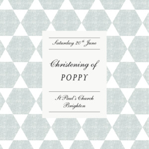 Christening Invitations Lovely linen blue