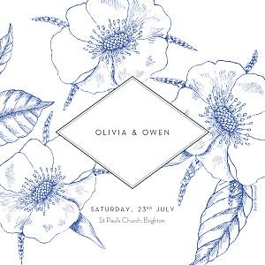 Wedding Invitations Engraved chic blue