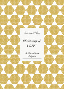 Christening Order of Service Booklets Lovely linen yellow