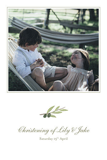 Christening Invitations Olive branch white