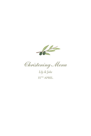 Christening Menus Olive branch white - Page 1