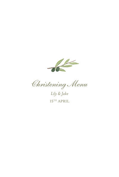 Christening Menus Olive branch white finition